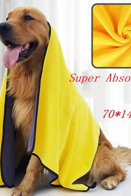 Pet absorbent towel dog teddy gold cat bath towel quick-dry large deer skin towel supplies for dogs