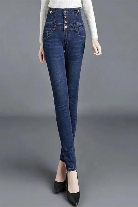 New high waisted stretch fit slim jeans